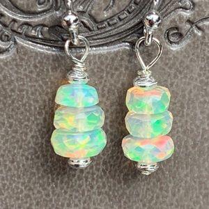 Dainty Sterling Silver Ethiopian Opal Earrings